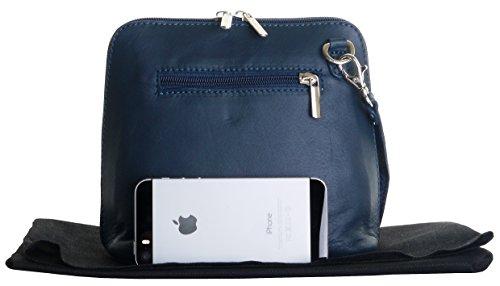 Italiano in morbida pelle, piccole/Micro croce corpo borsa o borsetta borsa a tracolla.Include una custodia protettiva. Blu navy