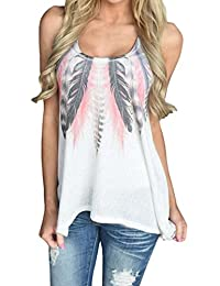 TUDUZ Newest Fashion Women Sexy Feather Printing Sleeveless Vest Shirts Blouse Plus Size Casual Tank Tops T-Shirt Tee