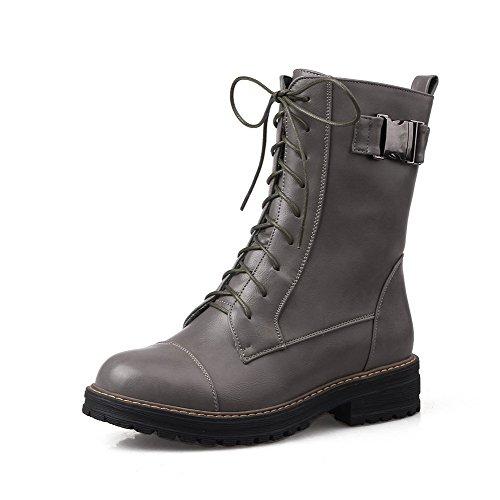 AgooLar Damen Rein PU Hoher Absatz Reißverschluss Rund Zehe Stiefel mit Metall Nägel, Weiß, 35