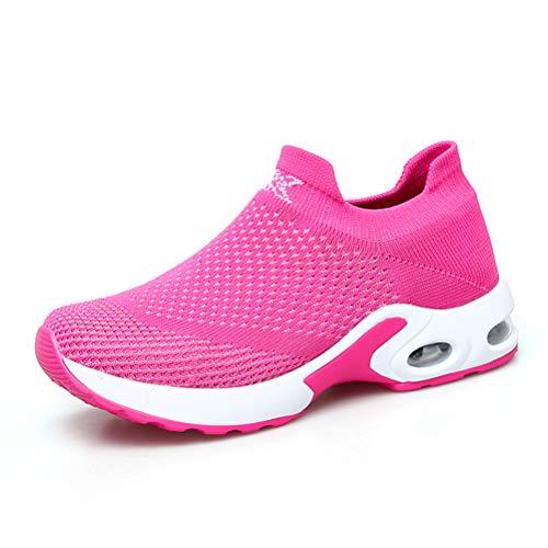 Dannto Damen Laufschuhe Air Atmungsaktiv Fitness straßenlaufschuhe Turnschuhe Sneaker Sportschuhe atmungsaktiv Gym Rutschfeste Mode Freizeitschuhe Für den Frühling Sommer(Rose,37)