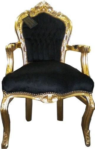 Casa Padrino Barock Esszimmerstuhl Schwarz/Gold mit Armlehnen - Möbel Antik Stil