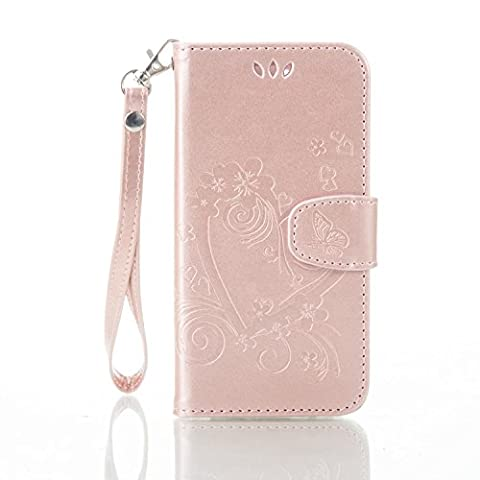 Huawei Honor 4A /Y6 Case, Huawei Honor 4A /Y6 Wallet Cover, Huawei Honor 4A /Y6 Flip Case, Cozy Hut for Huawei Honor 4A /Y6 Case Fashion Colorful Love Heart Flower Embossed Design PU Leather Flip Folio Case Cover Protective Shell Case for Huawei Honor 4A /Y6, with Card Holder & Hand Strap - Rose