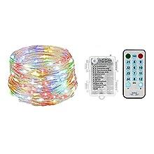 Music Fairy Lights AVEKI LED String Lights 394in 100 LED 8 Modes 5 Adjustable Brightness 17-Key Remote Control Battery Powered String Lights for Birthday Festival Wedding Christmas
