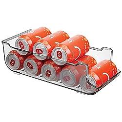 MetroDecor mDesign Boite Alimentaire pour réfrigérateur et Armoire de Cuisine – bac Alimentaire Parfait pour Neuf canettes – Rangement frigo Pratique – Gris fumé