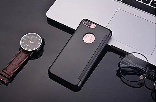 Nnopbeclik® [Coque Iphone 7 Plus Silicone] Luxe Miroir Etui Housse pour Iphone 7 Plus Coque transparente (5.5 Pouce) Clear View Smart Flip case Couverture dure de cas avec le sommeil / réveil Fonction noir