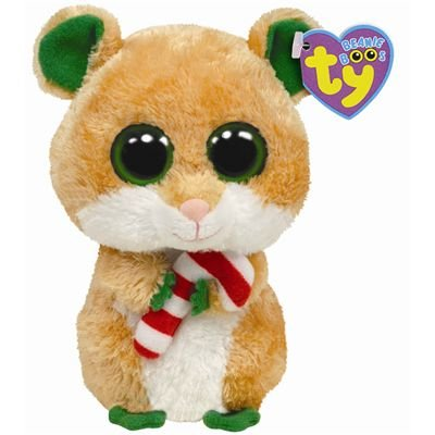 "Beanie Boo Christmas Hamster - Candy Cane - 15cm 6"""