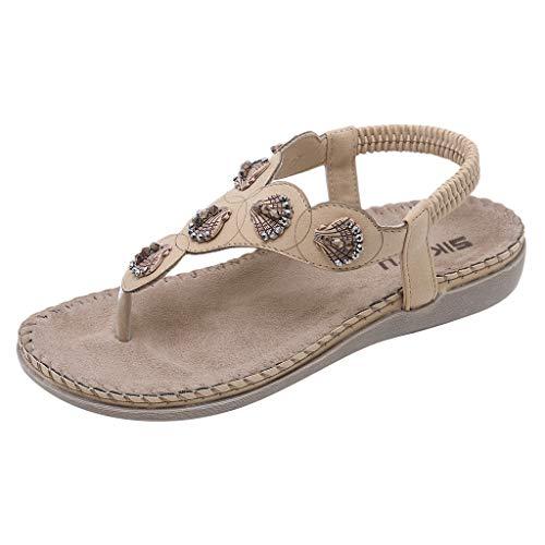 Yvelands Damen Sandalen böhmischen Blumen Kristall Mode Schnalle Strand römische Sandalen Schuhe(Khaki2,42)
