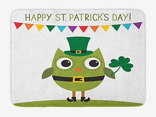 YnimioHOB St. Patrick 's Day Badematte, Eule mit Kobold Kostüm Gruß Design für Party Shamrock Muster, Plüsch Badezimmer Dekor Matte mit Rutschfester Rückseite, - Varys Kostüm Muster