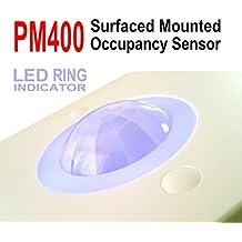 Le Electronics PM400montaje en superficie luz detector de movimiento PIR Sensor de seguridad automático interruptor, techo 360ángulo 5m en Radio (blanco)