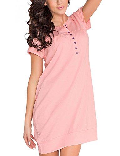 TM.5009 Favolosa Camicia Da Notte Di Maternita In Splendidi Colori rosa salmone