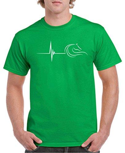 Comedy Shirts - Pulsschlag Pferd - Herren T-Shirt - Grün/Weiss Gr. S