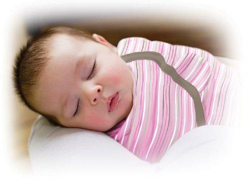 Summer Infant 72194 SwaddleMe Ganzkörper Pucksack Wellenstreifen - 100 Prozent Baumwolle, rosa