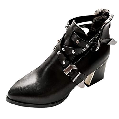 Freizeitschuhe Damen,ABsoar Retro Kurzer Stiefel Nieten Gürtelschnalle Schuhe der Mode Spitzen Sandalen Starke Lässig Hausschuhe Rutschfeste Tanzschuhe Arbeitsschuhe 35-43