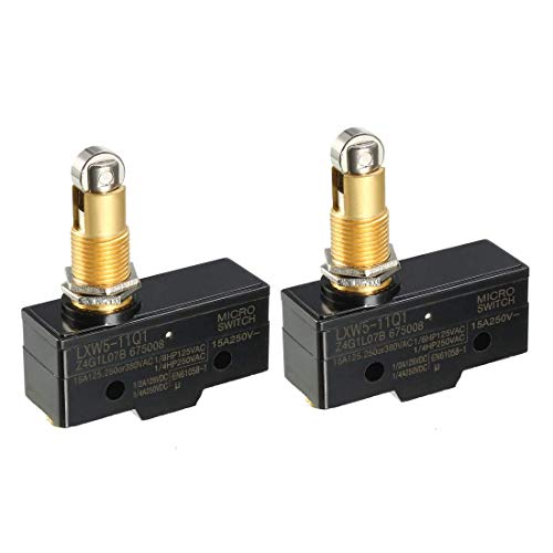 ZCHXD 2PCS LXW5-11Q1 1NO + 1NC Panel Mount Roller Plunger Micro Limit Switches - Limit Switch, Roller