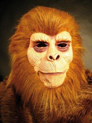 Erw.-Affenmaske braun mit Plüschhaar