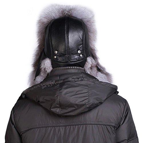 LETHMIK Mens Trapper Hat Fox Fur Russian Bomber Hat Trooper Winter Hats
