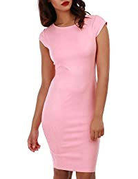 La Modeuse - Robe courte rose en suédine à manches courtes