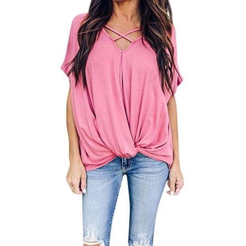 Hevoiok Kurzarm-Shirt Damen Casual Criss Cross V-Ausschnitt Top T-Shirt Sexy Sommer Oberteile Bluse Tops (Rosa, M)