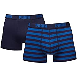 Puma - Calzoncillo bóxer de rayas para hombre 1515 (paquete de 4) - XL, azul