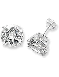 Sterling Silver 13MM Cubic Zirconia Round Stud Earrings