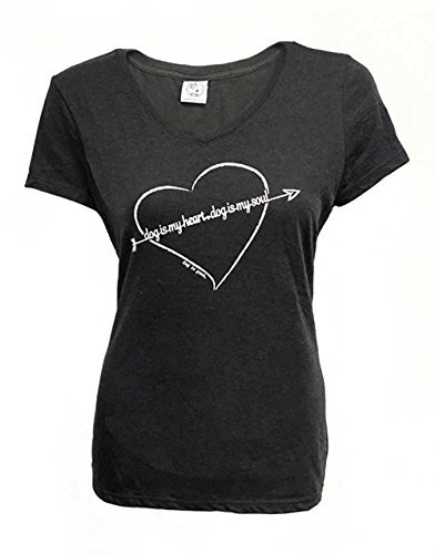 Hund ist gut Damen T-Shirt: Hund ist My Heart Größe L Black Frost -