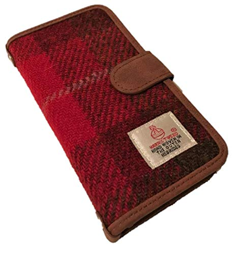 Harris Tweed iPhone 6 7 8 Folio Handy Tasche Schutzhülle Cover Wallet Tartan Flip Pink/Rot -