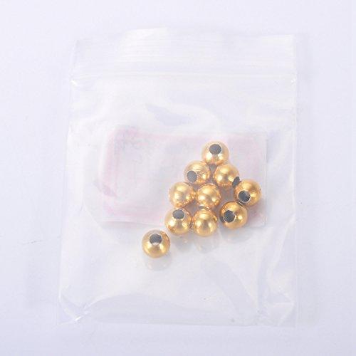 HOUSWEETY 30 Pcs Perles d'Espacement Rond en Acier Inoxydable avec Trou pour Creation de Bijoux 6mm