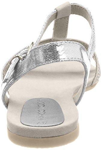 Marco Tozzi 28124, Sandales En Forme De T Pour Femme Silver (argent Met.com)