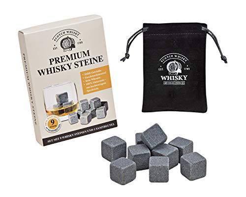 WOMA Whisky Steine Set, 9 Wiederverwendbare Kühlwürfel aus Speckstein mit Samtbeutel, Geschmacksneutral, Kein Verwässern für Whiskey, Wodka, Gin und Mehr