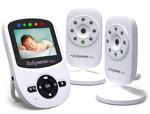 Video Baby Monitor Babysense con 2 Videocamere | Visione Notturna a Raggi Infrarossi | Comunicazione Audio a Due Vie, Temperatura della Stanza ● Esteso Raggio D\'azione | Model:V24_2UK