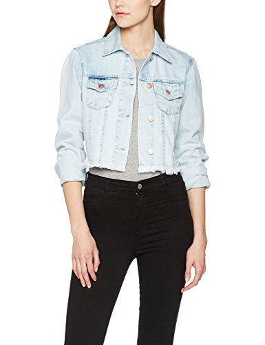 Urban Classics Damen Ladies Short Denim Jacket Jeansjacke, Weiß (Heavy Bleached 832), Small Urban Denim Jacke
