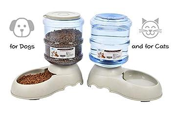 YGJT Distributeur de Nourriture/Eau Fontaine Automatique-3.75L x 2 Pièces- Alimentation pour Chien/Chat/Croquettes Accesoires Gamelle Animaux Domestiques (Pas Besoin de Batterie)