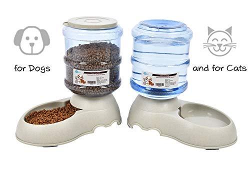 YGJT Automatischer Futterspender Katze/Hunde Wasserspender und Futterspender Haustier Automatischer Wasserspender,Futterautomat Katze,Katzen Trinkbrunnen Hund Schüssel jeweils 3.8 L