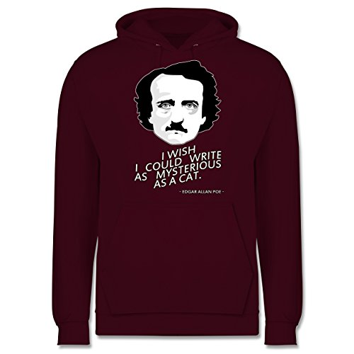 Statement Shirts - Edgar Allan Poe - I wish I could write as mysterious as a cat - Männer Premium Kapuzenpullover / Hoodie Burgundrot