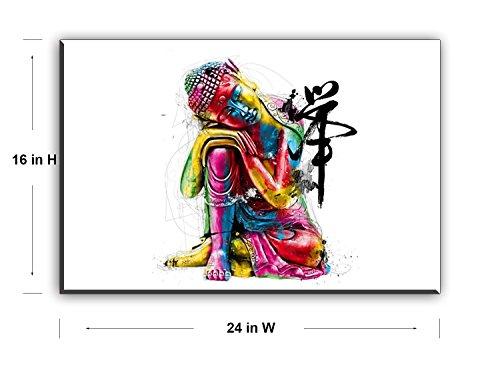 """Piy Buda lienzo pared arte, Zen cuadros en lienzo para dormitorio (1""""de grosor, resistente al agua, listo para colgar) 5"""
