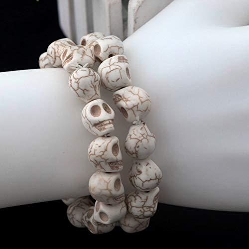 Schädel Perlen Geschnitzt Schädel Skelett Spacer Perlen für Handwerk, Armbänder, Halsketten, Halloween Partei 12mm weiß, Neuheit Schmuck ()