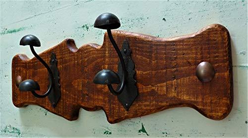 Perchero Rústico, de pared, madera y forja, Perfecto para Dormitorio, Baño, Salón, Cocina, Porche, Pasillo, etc