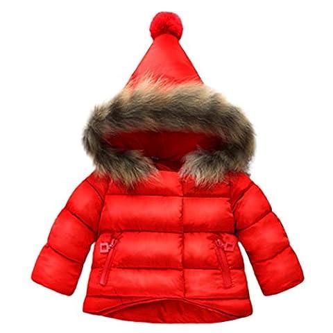 Body Bebe Fille Garcon,Manadlian Bébé Filles Garçons Enfants Bas Manteau Veste Automne Vêtements D'Hiver (Hauteur: 80CM, rouge)