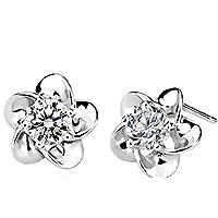 Swarovski Elements 925 Sterling Silver Studs Earrings Flower