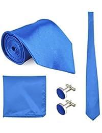 Corbata, Pañuelo y Gemelos Azul Satén (Caja de Lujo), 100 % Seda - Oxford Collection -