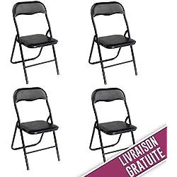 Chaises pliantes de bureau noires à structure noire - Lot de 4