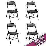 Best Chaises pliantes - Chaises pliantes de bureau noires à structure noire Review