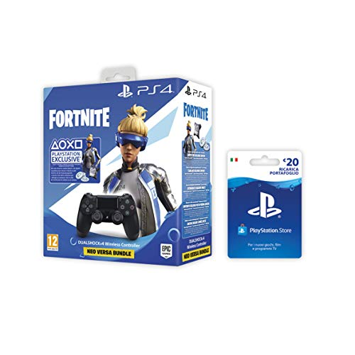PlayStation 4 - Dualshock 4 Controller Wireless V2, Nero Fortnite + PSN Card 20 € [Esclusiva Amazon], Standard + Card