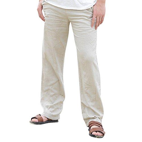 semen Herren Freizeithosen Leinenhose Baggy Baumwolle Luftige Bequeme Strand Lässig Lange Hosen (Leinen Hose)