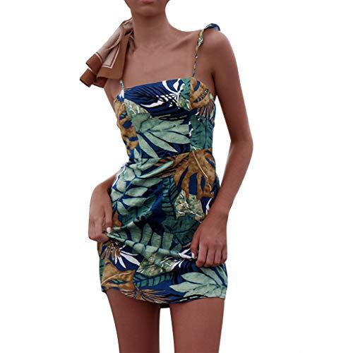 KItipeng Kurzer Rock Damen Blumendruck Kleid mit Krawatte Ärmellos Rückenfreies Sommerkleider Strandkleid