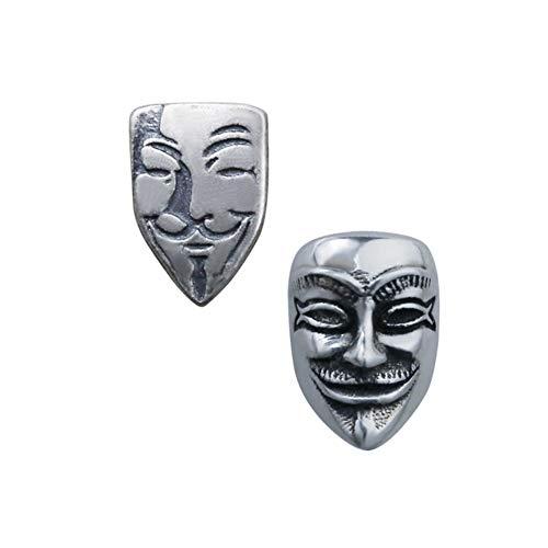 Silber matt Ohrringe männer v für Vendetta Geist Maske Punk Vintage Silber schmuck für männlich weiblich,C ()