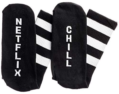 Snark City Netflix Chill Socken in schwarz und weiß für Herren Eine Größe passt meistens Schwarz-Weiss