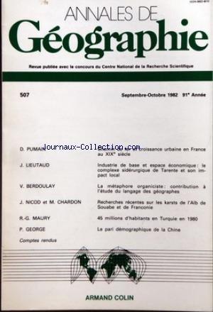 ANNALES DE GEOGRAPHIE [No 507] du 01/09/...