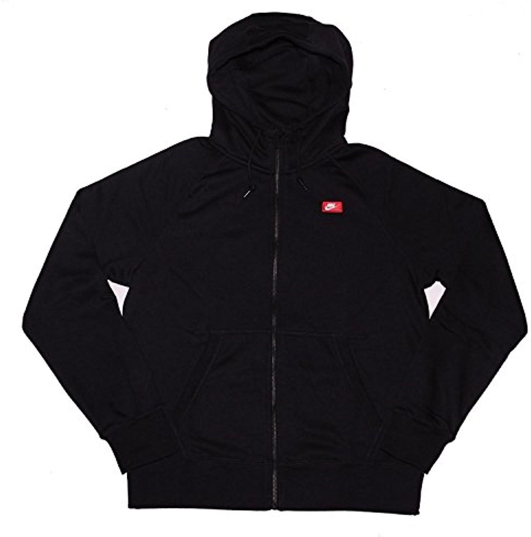 Sudadera con capucha y cremallera completa Nike Mens AW77 negra / azul (mediana)