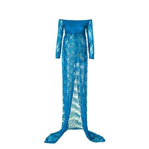 MCYs Frauen Schwanger Maternity Jerseykleid Fotografie Aus der Schulter Spitzen Pflege Langes Kleid Schulterfrei Fotografie Mutterschaft Kleid Rock Spitze Lange Maxi Kleid (L, Blau)